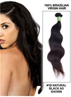 12'-30' Body Wave Brazilian Virgin Hair Extension Weft - Natural Black