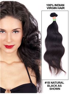 12'-30' Body Wave Indian Remy Hair Extension Weft - Natural Black