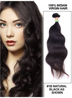 New 12'-30' Body Wave Indian Remy Hair Extension Weft - Natural Black