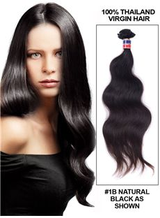 Hot 12'-30' Body Wave Thailand Virgin Hair Extension Weft - Natural Black