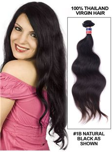 New 12'-30' Body Wave Thailand Virgin Hair Extension Weft - Natural Black