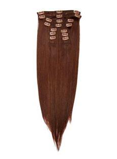 12'-30' Sleek Long Hair Extensions Clip In Auburn