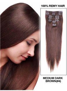 12'-30' Inches 7 Piece Silky Straight Clip In Indian Remy Human Hair Extension