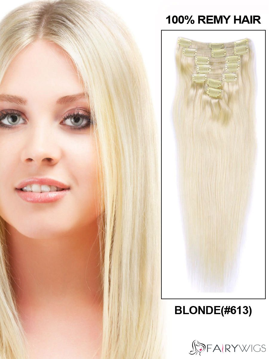 Blonde Straight Clip In Indian Remy Human Hair Extensions 7 Pieces