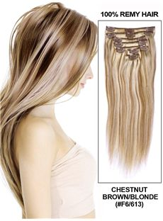 Chestnut Brown Silk Straight Clip In Indian Remy Human Hair Extension