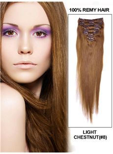 12'-30' 7 Piece Light Chestnut Straight Clip In Indian Remy Human Hair Extension