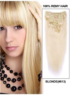 12'-30' 7 Piece Blonde Silky Straight Clip In Indian Remy Human Hair Extension