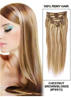 12'-30' 7 Piece Silky Straight Clip In Indian Remy Human Hair Extension