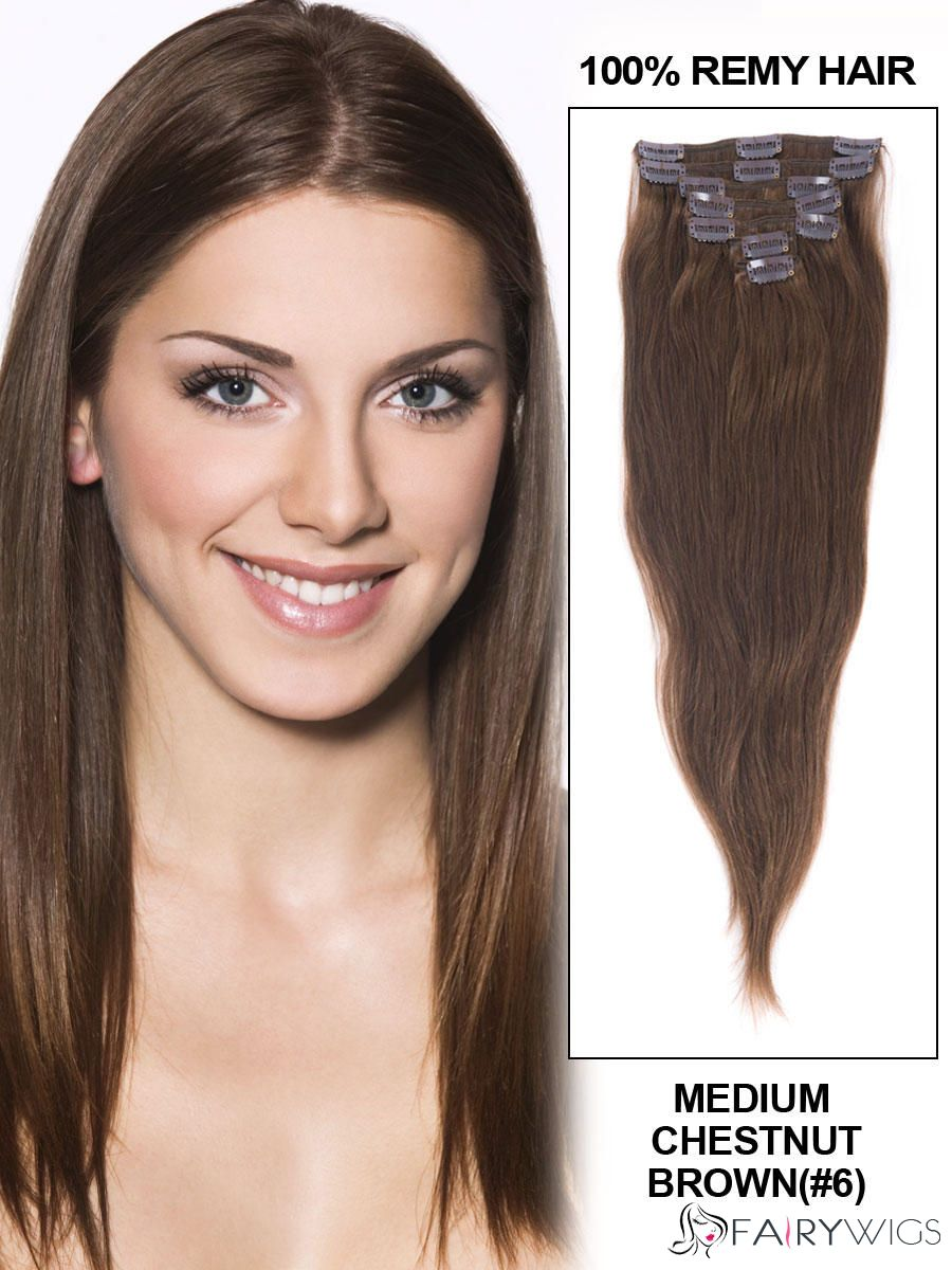 Sweet Medium Chestnut Brown Body Wave Clip In Indian Remy Human Hair