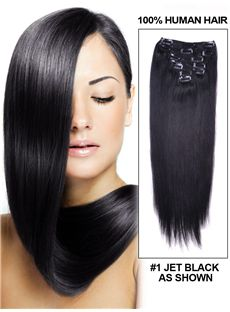 12'-30' 7 Piece Silky Straight Clip In Indian Remy Human Hair Extension - Jet Black