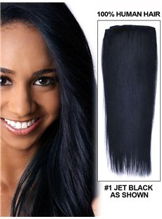 Jet Black Clip In 100% Human Hair Extension