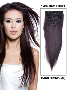 7 Piece 12'-30' Inches Silky Straight Clip In Indian Remy Human Hair Extension