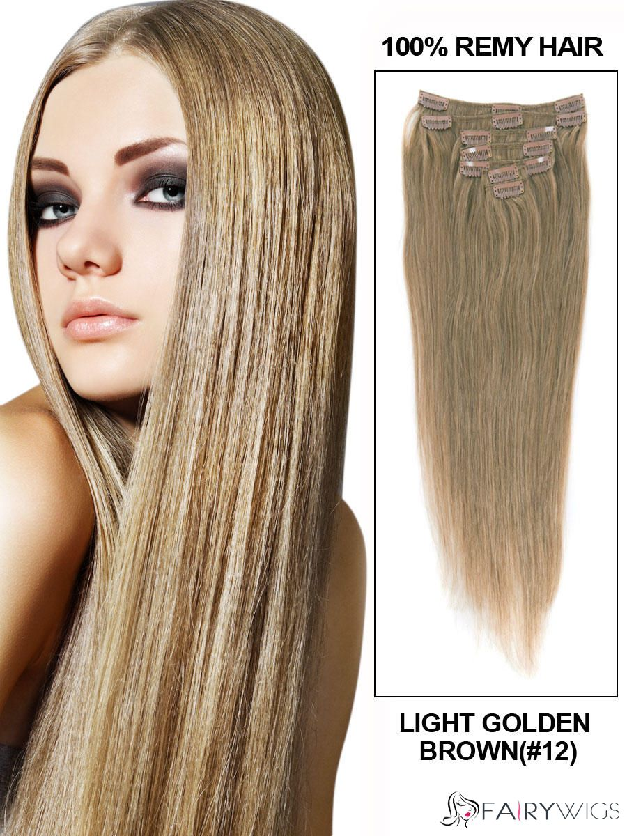 Lovely Light Golden Brown Body Wave Clip In Indian Remy Human Hair