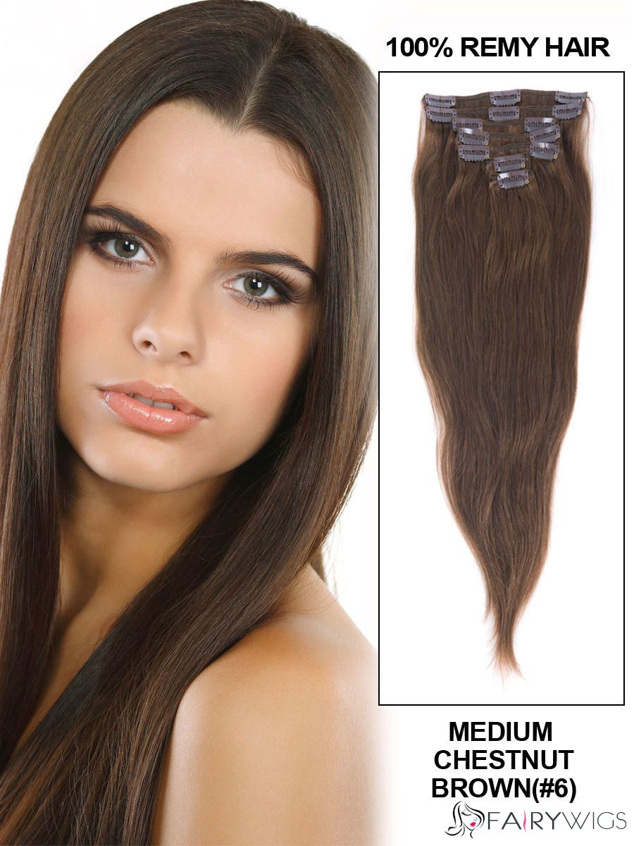 Cute Medium Chestnut Brown Clip In Indian Remy Human Hair Extension