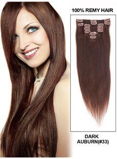 12'-30' 7 Piece Silky Straight Clip In Indian Remy Human Hair Extension - Dark Auburn
