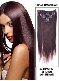 12'-30' 7 Piece Body Wave Clip In Indian Remy Human Hair Extension - Medium Brown