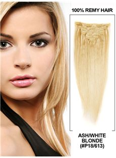 12'-30' 7 Piece Silky Straight Clip In Indian Remy Human Hair Extension - Ash/White Blonde