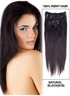 12'-30' 7 Piece Body Wave Clip In Indian Remy Human Hair Extension - Natural Black