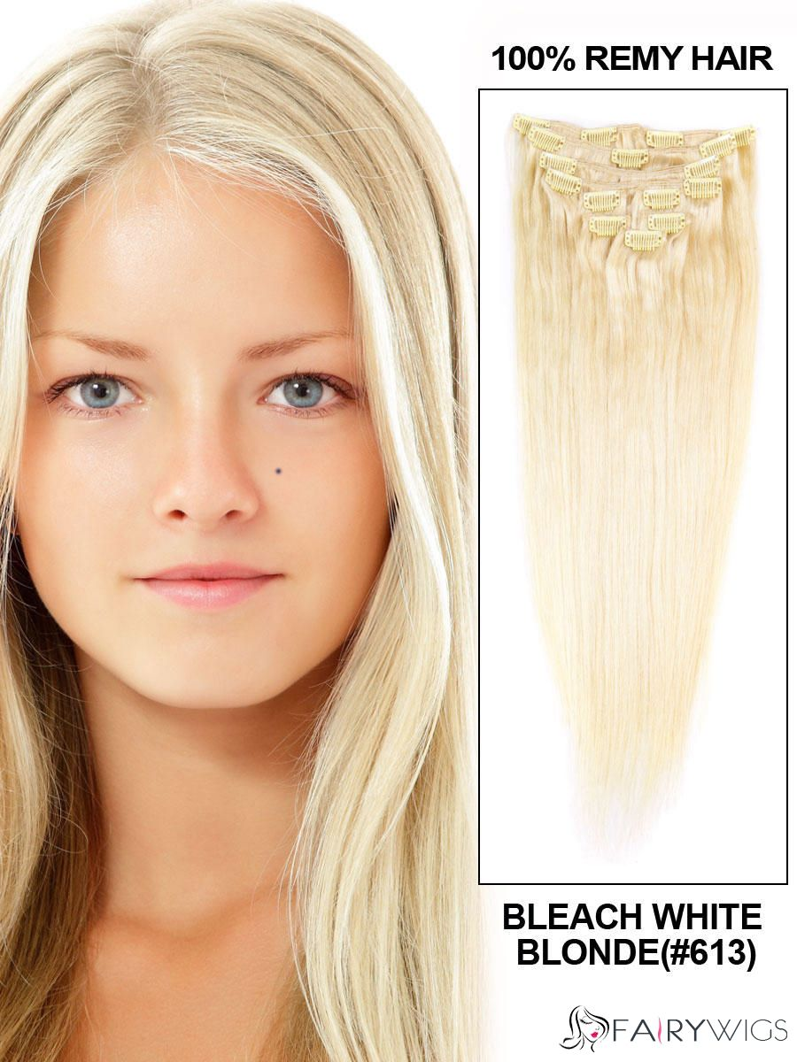Body Wave Clip In Indian Remy Hair Extensions Bleach White Blonde