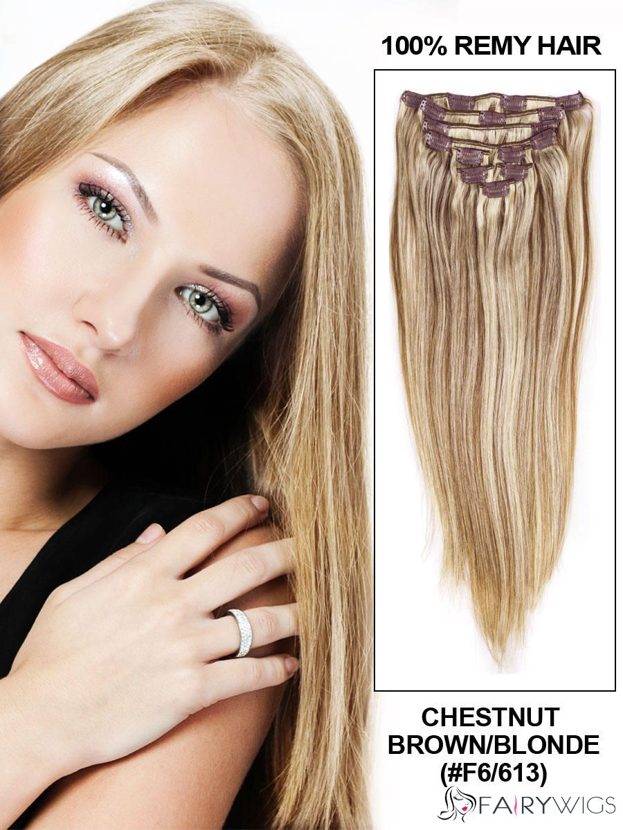 Chestnut Brownblonde Clip In Indian Remy Hair Extensions