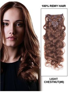 12'-30' 7 Piece Deluxe Set Silky Straight Clip In Indian Remy Human Hair Extension - Light Chestnut