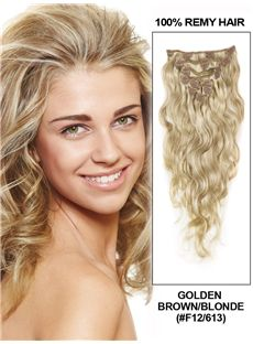 12'-30' 7 Piece Deluxe Set Silky Straight Clip In Indian Remy Human Hair Extension - Golden Brown/Blonde