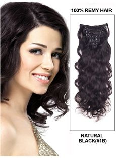 12'-30' 7 Piece Deluxe Set Silky Straight Clip In Indian Remy Human Hair Extension - Natural Black