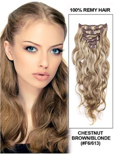 Chestnut Brown/Blonde Wave Clip In Indian Remy Human Hair Extension