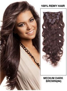 12'-30' 7 Piece Deluxe Set Silky Straight Clip In Indian Remy Human Hair Extension - Medium Dark Brown