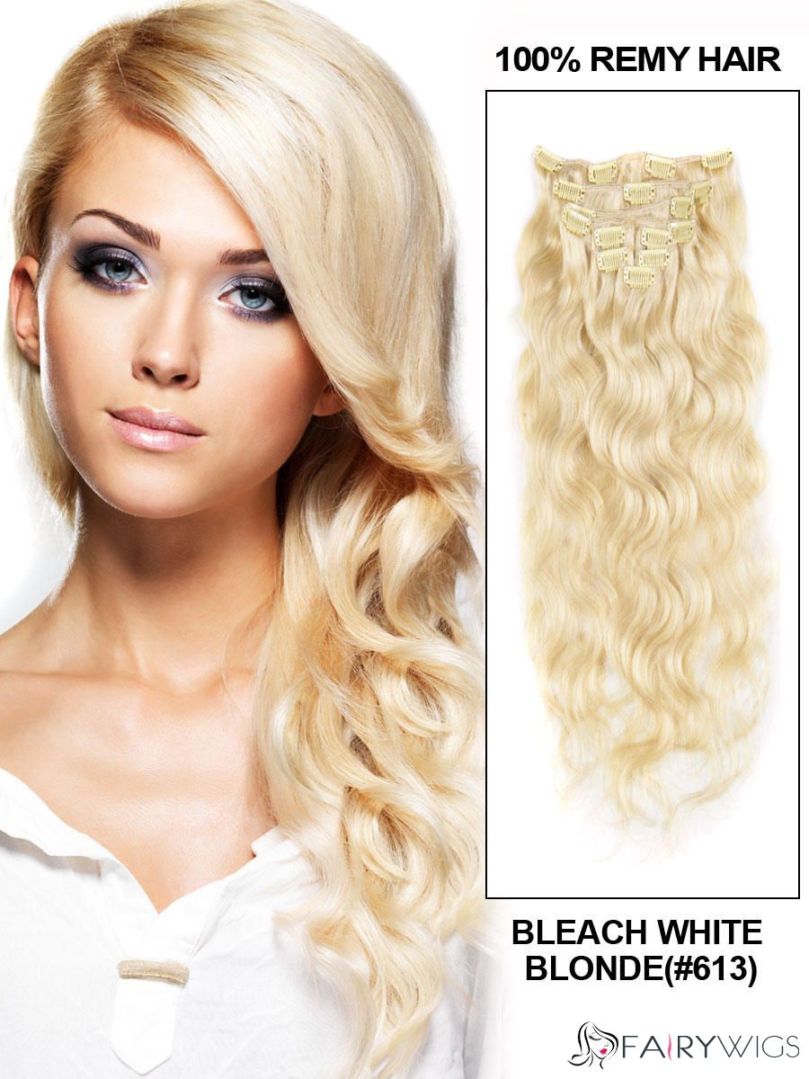 Lovely Bleach White Blonde Clip In Remy Human Hair Extension