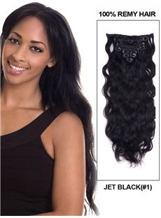 12'-30' 7 Piece Deluxe Set Silky Straight Clip In Indian Remy Human Hair Extension - Jet Black