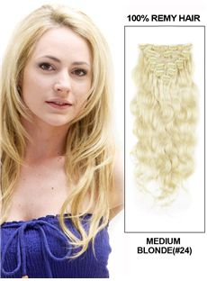 12'-30' 7 Piece Deluxe Set Silky Straight Clip In Indian Remy Human Hair Extension - Medium Blonde
