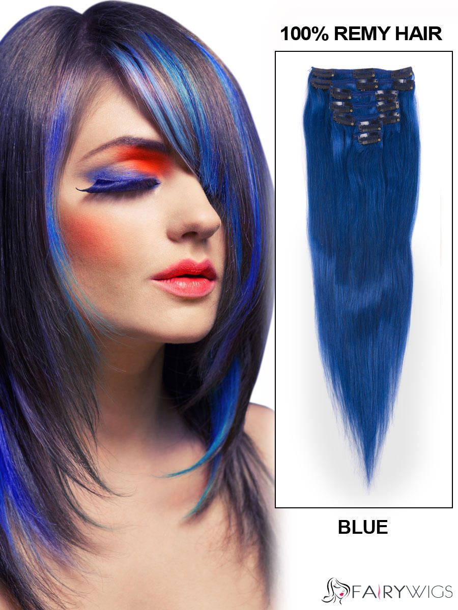 12 30 7 piece silky straight clip in indian remy human hair 12 30 7 piece silky straight clip in indian remy human hair extension blue pmusecretfo Images