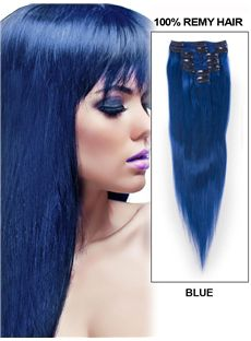 12'-30' 7 Piece Silky Straight Clip In Indian Remy Human Hair Extension - Blue