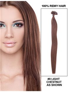 Light Chestnut Straight Nail/U Tip Brazilian Human Hair Extensions