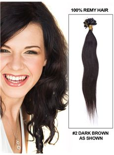 12'-30' 100 Strands Dark Brown Silky Straight Nail/U Tip Indian Remy Hair Extension