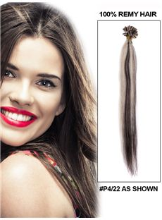 12'-30' Inches 100 Strands Silky Straight Nail/U Tip Indian Remy Hair Extension