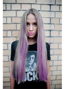 28 Inch Straight Blonde with Purple Human Hair Ombre Wigs