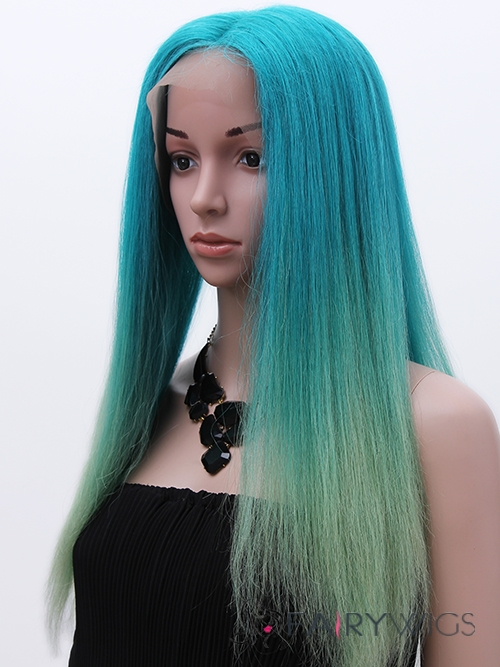 24 Inch Straight Blonde to Pink Human Hair Ombre Wigs