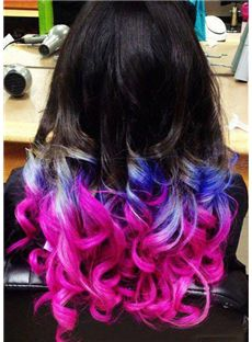 22 Inch Wavy Black to Purplr Human Hair Ombre Wigs