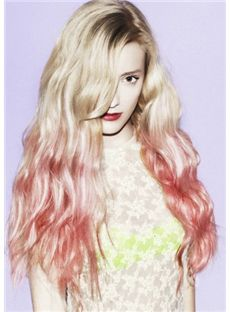 26 Inch Wavy Blonde to Pink 100% Human Hair Ombre Wigs