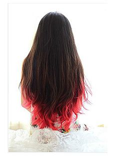 30 Inch Wavy Black to Red Human Hair Ombre Wigs