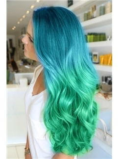 26 Inch Wavy Blue to Green Human Hair Ombre Wigs