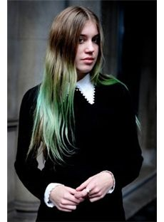 24 Inch Straight Sepia to Green Human Hair Ombre Wigs
