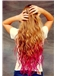 30 Inch Wavy Blonde and Red to Purple Human Hair Ombre Wigs