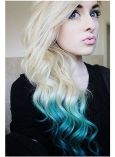 24 Inch Wavy Blonde to Blue Human Hair Ombre Wigs