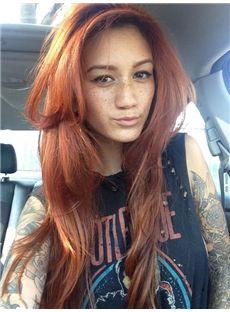 28 Inch Wavy Auburn Lace Front Human Hair
