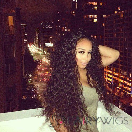 26 Inch Curly Black Full Lace Human Hair