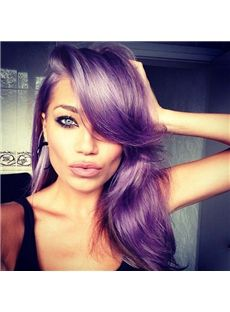 20 Inch Wavy Purplr Lace Front Human Hair