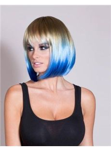 12 Inch Straight Capless Blue Indian Remy Hair Ombre Wigs